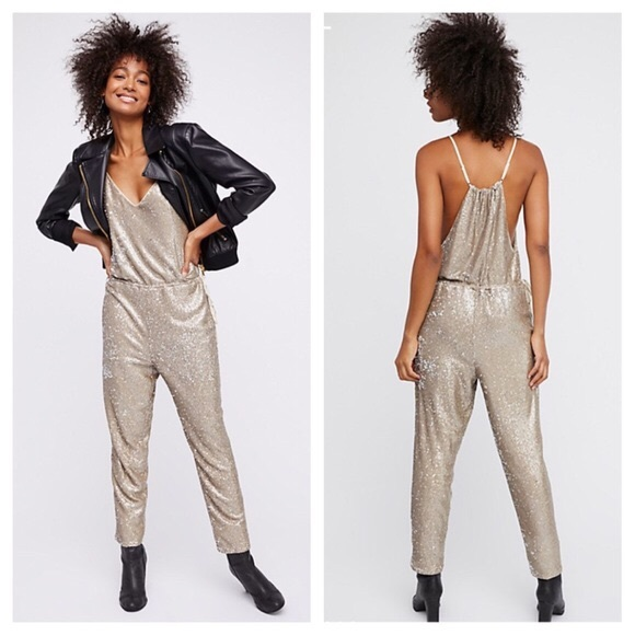 Free People Pants Nwot Sequin Jumpsuit Romper Poshmark